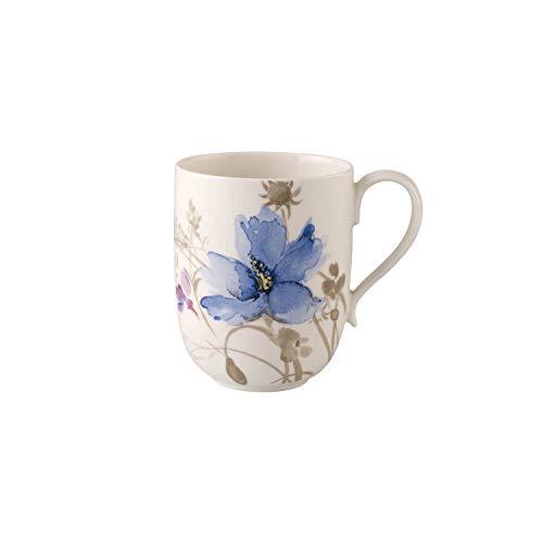 Villeroy und Boch - Mariefleur Gris Latte Macchiato-Becher, schöner Kaffeebecher mit verspieltem Blumendekor aus Premium Porzellan, 480 ml