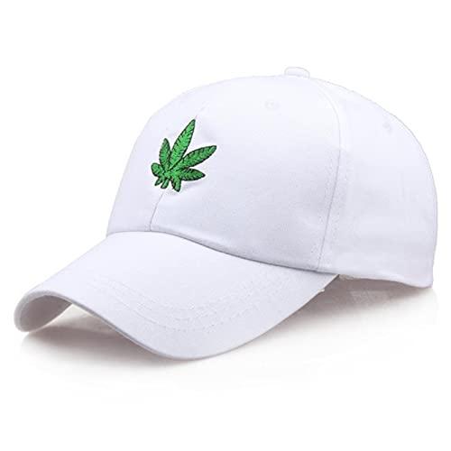 XMYNB Gorra de Beisbol Bordado Arce Hoja Blanco Casquillo Algodón Snapback Sombreros para Hombres Mujeres Hip Hop Tops De Béisbol Ajustados-B