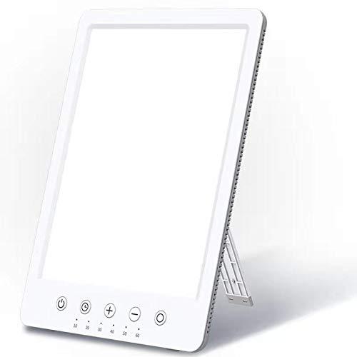 Tageslichtlampe 10000 Lux Lichttherapielampe gegen Depressionen Easysleep LED UV-freie Tageslichtleuchte Lichtdusche mit Simuliertes Sonnenlicht 10 Helligkeitsstufen 6 Timer Standfuß