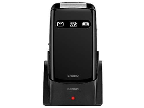 Brondi Amico Favoloso, Telefono cellulare GSM per anziani con tasti grandi, tasto SOS e funzione da remoto, dual SIM, volume alto, Nero