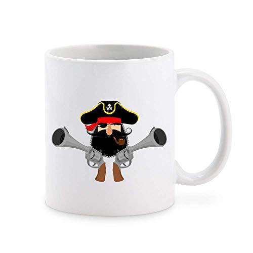 N\A Simple Barba rizada Bigote Pirata capitán con Pistolas Taza de café de Dibujos Animados Taza de té Tazas de Regalo novedosas 11 oz