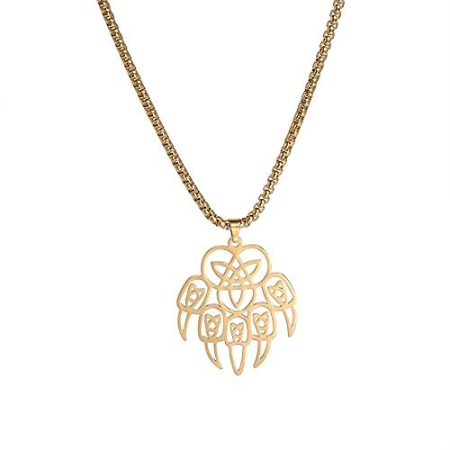 Amaxer Collar de acero inoxidable con diseño de oso vikingo, trinidad para hombre, nudo celta en espiral, triquetra nórdica, colgante geométrico, unisex, cadena de caja de 50,8 cm, Metal,