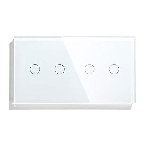 Conmutador 4 Botón de pandillas Interruptor táctil 157 mm Interruptor de luz eléctrica Clase de cristal Interruptor de panel blanco Negro Negro Mejora de la casa 050 ( Color : White , Standard : 1 )