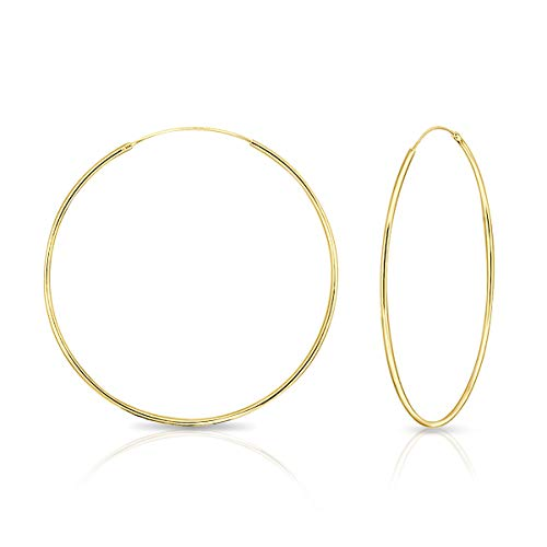 DTPsilver® Groß Creolen Ohrringe 925 Sterling Silber Gelb Vergoldet - Dicke 1.2 mm - Durchmesser 60 mm