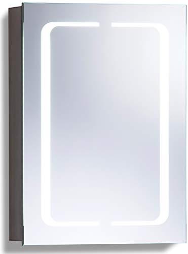 Neue Design Badkamerspiegelkast met LED-verlichting 70cm(h)X50cm(b)X15cm(d) Draadloze Demister, scheerstopcontact en sensorschakelaar met verlichting C17