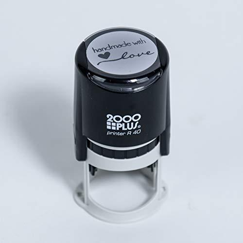 "Handmade with Love Self-Inking R40 Round Stamp, 1 1/2"" Diameter, Black Ink"