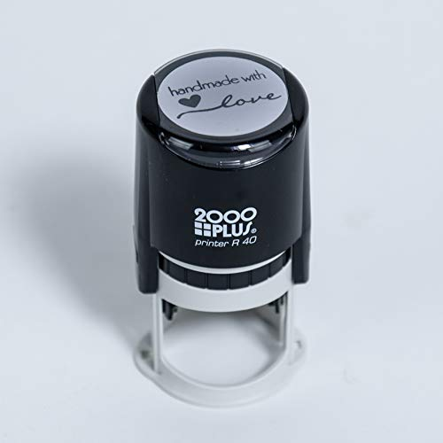 Handmade with Love SelfInking R40 Round Stamp 1 1/2quot Diameter Black Ink