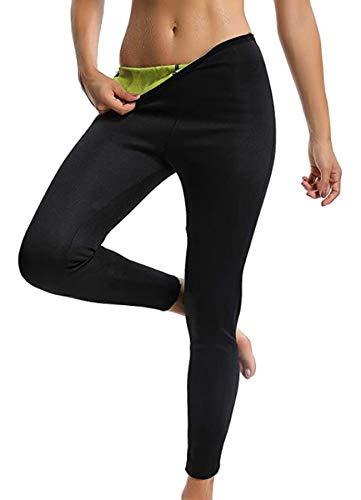 STARBILD Leggins Deportivas para Mujer para Adelgazar Leggins Anticeluliticos Mallas Termicos de Neopreno Fitness Deporte Correr Yoga Pantalón de Sudoración Adelgazantes Largo Negro y Amarillo 2XL