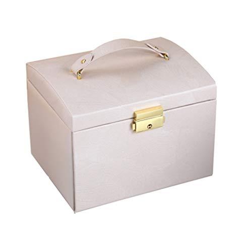 caja organizadora de joyas Perlas de la joyería caja de terciopelo PU con la cerradura de múltiples funciones de gran capacidad de almacenamiento de la pulsera del anillo joyas collares caja del organ