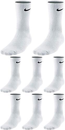 Nike 8 Paar Herren Damen Socken Lang Weiß oder Schwarz oder Weiß Grau Schwarz Set Paket Bundle, Farbe:weiß, Größe:38-42