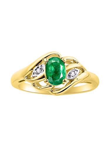 RYLOS Anillo para mujer con forma ovalada y diamantes brillantes auténticos en plata chapada en oro amarillo de 14 quilates, anillos de piedra natal de color 925 a 6 x 4 mm.