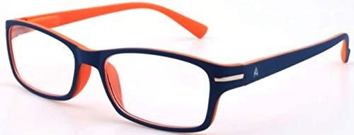Atlantic Eyewear AE0056 Lesebrille Brillen Blau und Orange für Männer und Frauen mit Etui (+1.00)