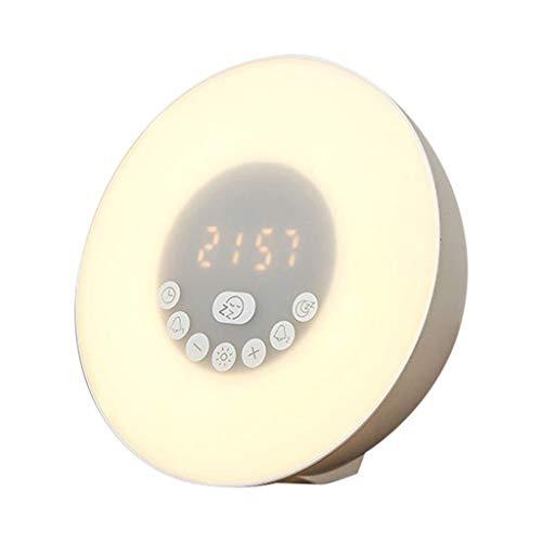 LRWEY Aufwachen Licht Wecker Sonnenaufgang Simulation Bluetooth Lautsprecher Digital LED FM für iPhone, Samsung usw.