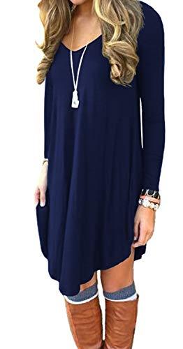 Women's Long Sleeve Casual Loose T-Shirt Dress Navy Blue M