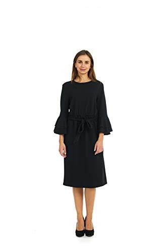 ESTEEZ Dress for Women Belted Empire Waist Double Bell Sleeve Emilee Black XX-Large
