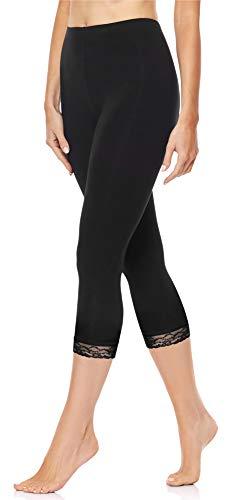 Merry Style Damen 3/4 Capri Leggings aus Baumwolle mit Spitze MS10-224 (Schwarz, L)