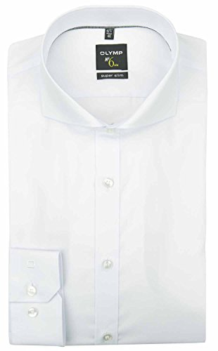 OLYMP Herren Hemd No. 6 Super Slim Fit Langarm Weiss (10) 42