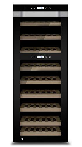 CASO WineComfort Touch A one Design Weinkühlschrank für bis zu 44 Flaschen (bis zu 310 mm Höhe), 2 Zonen 5-20°C, Temperaturzonen einzeln einstellbar für Rotwein und Weißwein, Getränkekühlschrank, Energieklasse A