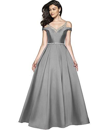 Damen Abendkleider Ballkleid Lang Satin Brautkleid Prinzessin Hochzeitskleid Partykleid A-Linie Festkleid Grau 52