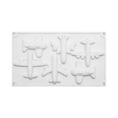 JumpXL Molde de silicona, 5 cavidades, aviones, fondant, mousse, molde para tartas, decoración de chocolate, pasta de azúcar, herramienta para hornear, moldes de resina para manualidades
