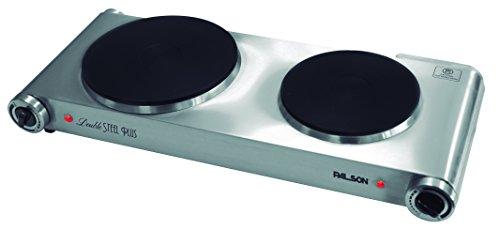 Palson Double Steel Plus - Placa de cocina doble, 2500W, plateado