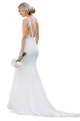 Yen Town Mermaid Bridal Dresses Sexy Illusion Back O-Neck Appliques Wedding Dresses for Bride