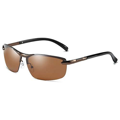SWNN Sunglasses Las Gafas De Sol UV400 Antideslumbrantes UV400 De Metal del Medio Marco del Metal Cambian Las Gafas De Sol De Conducción De Los Hombres Marrones/Azules (Color : Brown)