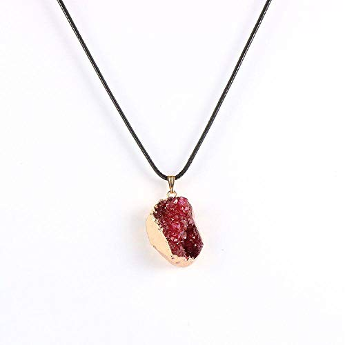 Stone Pendant Necklaces For Women,Golden Border Wrapped Irregular Natural Stone Purple Crystal Wax Pendant Necklace With Leather Chain Christmas Jewelry Gift For Women Men
