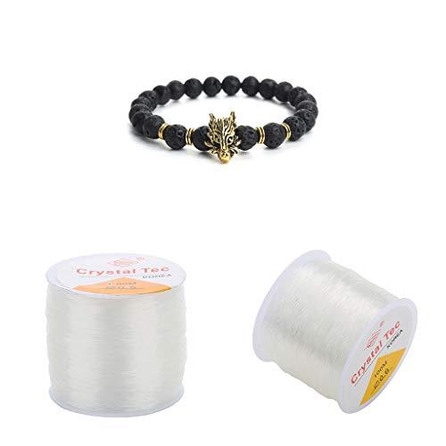 chiwanji Collar de Hilo Elástico Elástico de Cristal de Cuentas Transparentes de 2 Rollos de 0,6 Mm 100 M