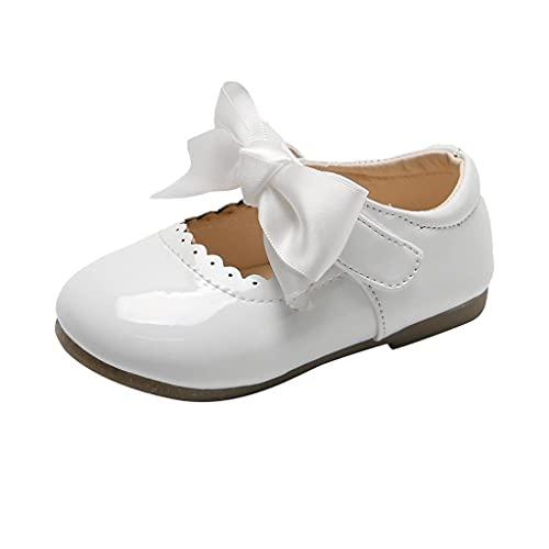 Zapatos infantiles de piel para 20 niñas, zapatos de princesa, zapatos para niños pequeños, zapatos con lazo, zapatos de baile con suelo suave, zapatos para aprender a andar, zapatos de bebé