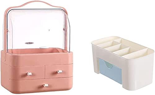 Recet Kosmetik Aufbewahrungsbox Kosmetikbox Aufbewahrung Kosmetik Makeup Organizers Staubdicht mit 3 Schubladen Schminktisch Beauty Organizer für Dresser Bad Schlafzimmer (C)