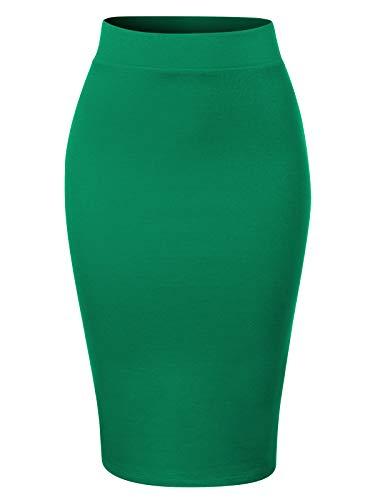 MixMatchy Women's Waist Band Midi Stretchy Ponte Basic Knee Pencil Skirt Kelly Green 2XL