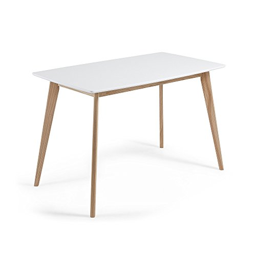 Kave Home - Mesa de Comedor Anit Rectangular 140 x 80 cm Blanca con Patas de Madera Fresno