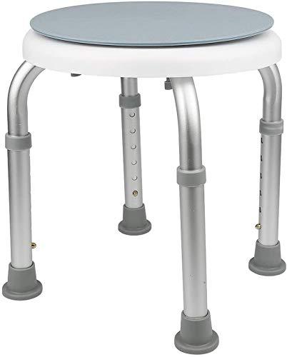 Duschstol, duschstol, justerbar duschstol, justerbar höjd (36-51 cm), 360 & deg;Rotation, aluminiumben