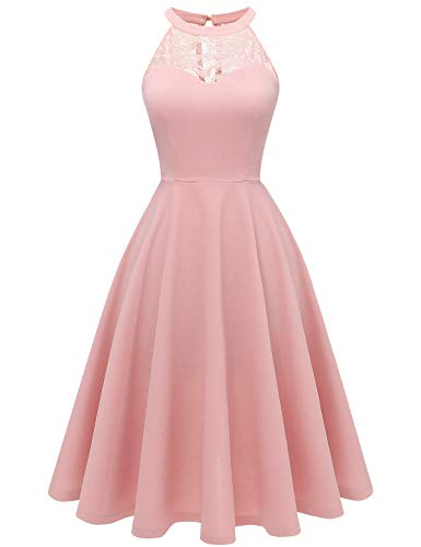 Bbonlinedress Damen Cocktailkleid Abendkleider Rockabilly Retro Vintage Neckholder Blush S