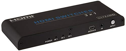 Monoprice Blackbird 4K 3x1 HDMI 2.0 Slim Switch - Black  4k @ 60Hz, HDCP 2.2 Compliant, HDR, Dolby TrueHD Support and IR Remote Control