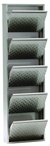simple..*M* 4001070442376 Schuhklappschrank, 50 x 15 x 171 cm, metall, grau