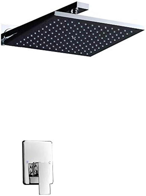 HM YEE-Duschkopf, 10 an der Wand befestigter Air Booster, der Wasser-Duschset spart, Luxus-Regen-Messingbad & Duscharmaturen