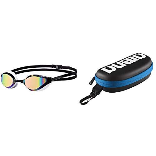 ARENA Python Mirror Gafas de Natación,  Unisex Adulto,  Blanco (revo/White),  Talla Única + 000001E048- 507 Estuche para Gafas de natación,  Unisex Adulto,  Negro/Blanco,  Universal