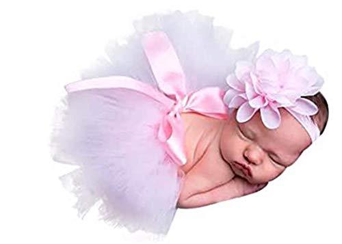 Bebé recién nacido Tutu Ropa Falda Tocado Flor Foto Fotografía Prop Outfit, Rosa