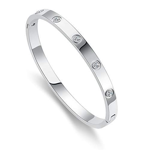 Love Friendship Bracelet Bangle Silver with Cubic Zirconia Stones Stainless Steel Hinged...