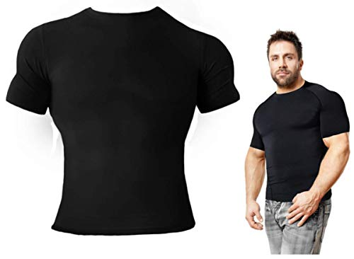 Copper Compression Short Sleeve Mens Recovery T-Shirt Support Fit for Men (M) Black