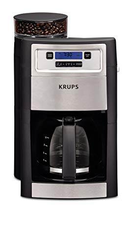KRUPS Grind and Brew Auto-start Coffee Maker with Builtin Burr Coffee Grinder, 10 Cups, Black (Renewed)