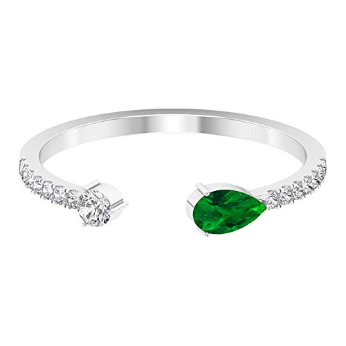 Solitaire 1/3 CT Emerald Diamond Open Cuff adjustable Ring, 35 MM Pear Shaped May Birthstone Statement Ring, 2.5 MM HI-SI Round Side Stone Ring Gifts, 14K Rose Gold, Size:UK F1/2