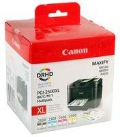 Canon PGI-2500XL 4 Cartuchos Multipack de tinta original Negro/Cian/Magenta/Amarillo para Impresora de Inyeccion de tinta Maxify MB5050-MB5150-MB5155-MB5350-MB5450-MB5455-iB4050-iB4150