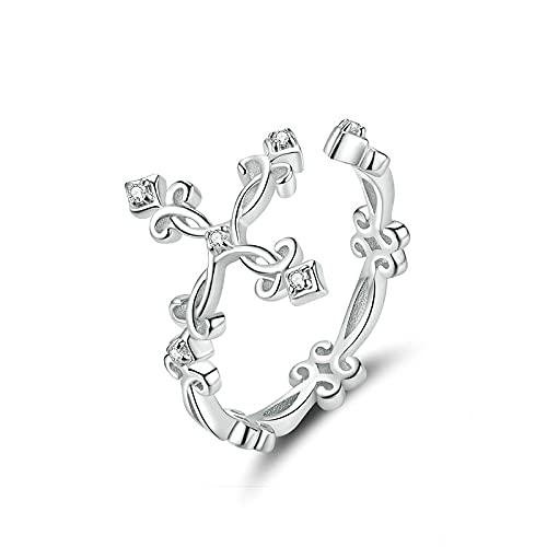 Anillo de dedo ajustable cruzado con patrón retro para mujer Anillos de plata de ley 925 Anillos de flores vintage Plata