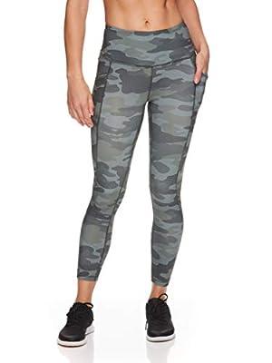 Reebok Women's 7/8 Workout Leggings w/High-Rise Waist - Performance Compression Athletic Tights - Precision High Rise Black Lichen Green, Medium