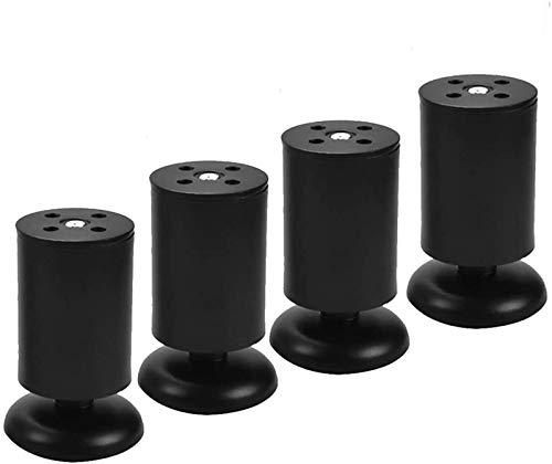 XJRHB Edelstahl-Sofa-Beine, mit Schrauben, zylindrischen Möbelbeinen Verstellbare Höhe Tischbeine, DIY Ersatzschrankbeine, 4pcs (Color : Black, Size : 6cm/2.4in)