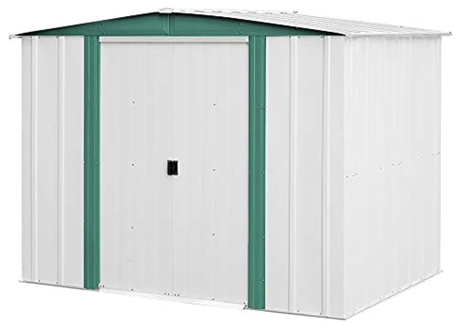 Arrow 8' x 6' Hamlet Storage Shed, Yard and Outdoor Storage for Tools, Lawn Equipment, Pool Toys Eggshell and Green
