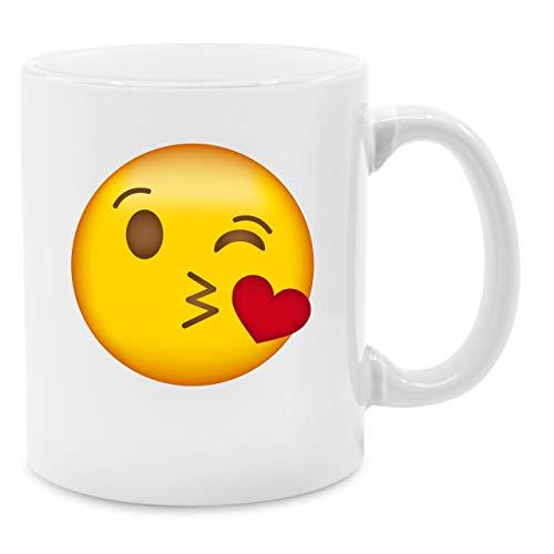 Statement Tasse - Emoticon Kuss-Mund - Unisize - Weiß - 30. geburtstag - Q9061 - Kaffee-Tasse inkl. Geschenk-Verpackung